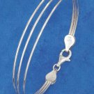 """STERLING SILVER TRIPLE FANNED WIRE BANGLE BRACELET WITH LOBSTER CLAW (7"""")"""