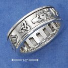 STERLING SILVER UNISEX ANTIQUED IRISH SYMBOLS SPINNER RING (NICKEL FREE)