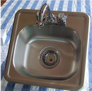 BAR SINK WITH FAUCET AND STRAINER  15 X 15