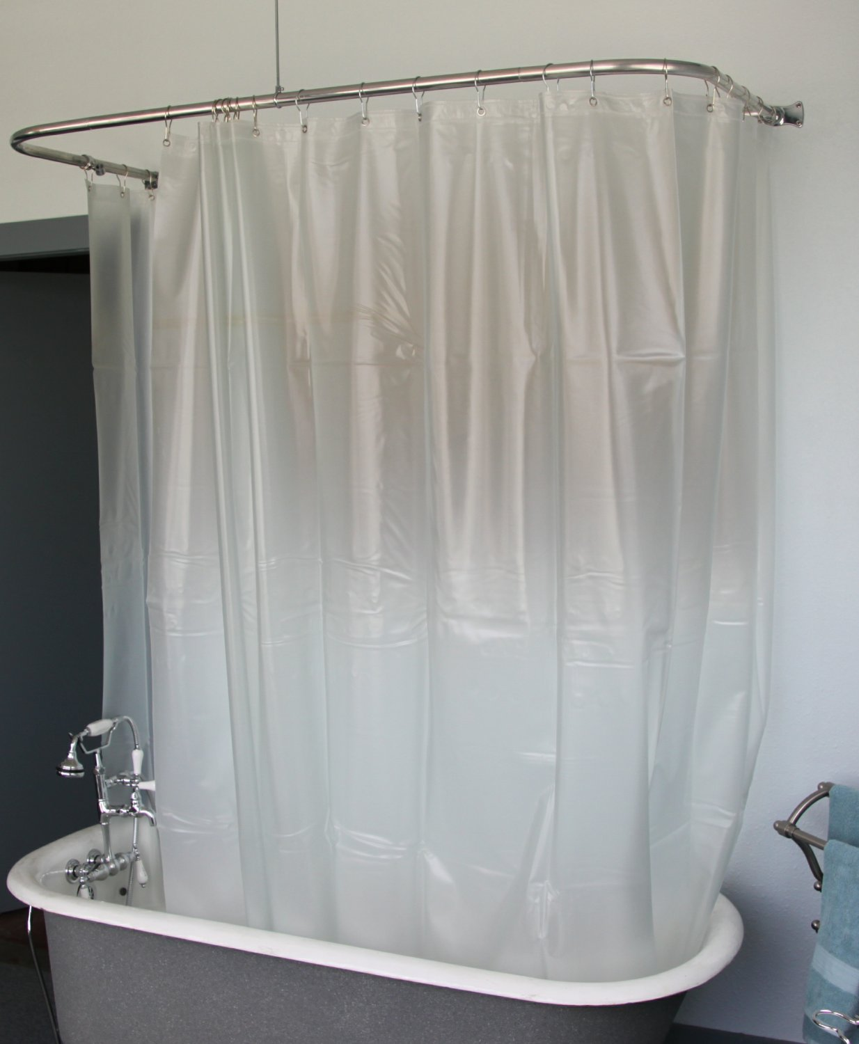 clawfoot shower curtain opaque less magnets. Black Bedroom Furniture Sets. Home Design Ideas
