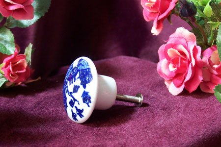 Blue Willow Drawer Knob /Cabinet Pull Set of 5