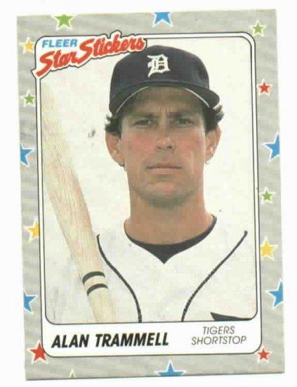 1988 Fleer Star Stickers Alan Trammell Oddball Detroit Tigers