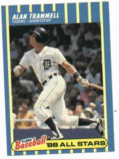 1988 Fleer Baseball All Stars Alan Trammell Detroit Tigers Oddball