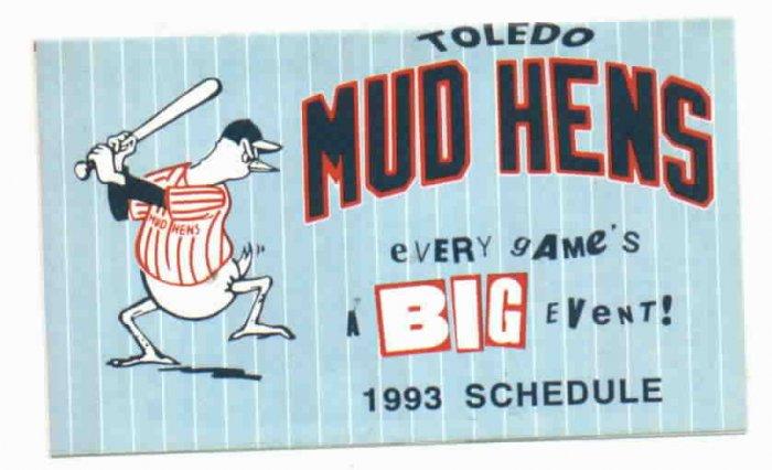 1993 Toledo Mud Hens Pocket Schedule