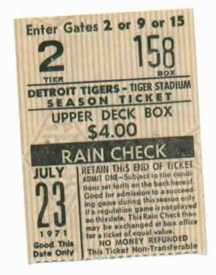 1971 Detroit Tigers Ticket Stub July 23