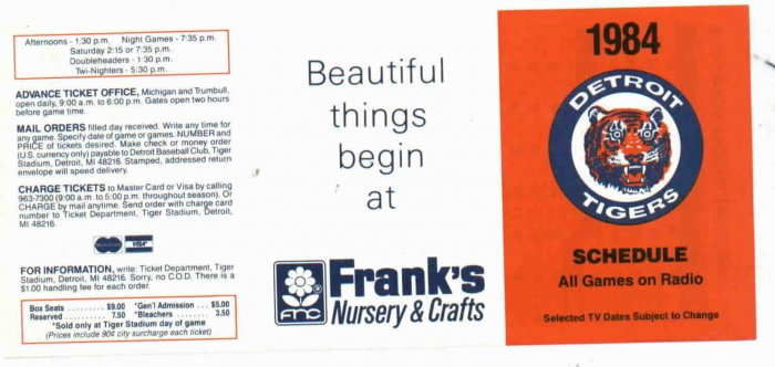 1984 Franks Nursery Detroit Tigers Schedule UNFOLDED MINT World Series