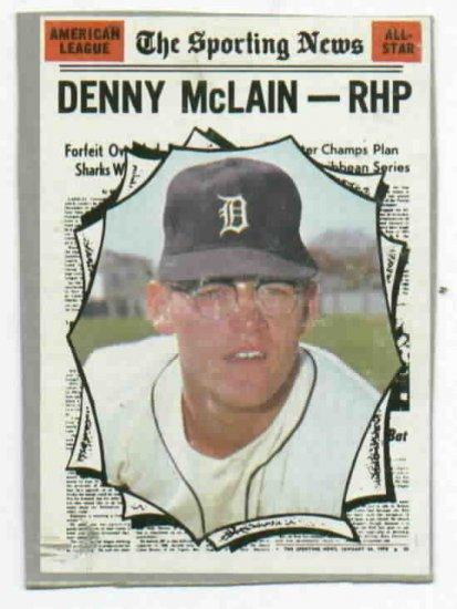 1970 Topps Denny Mc Lain All Star Card Detroit Tigers