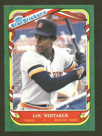 1987 Fleer Star Sticker Lou Whitaker Detroit Tigers