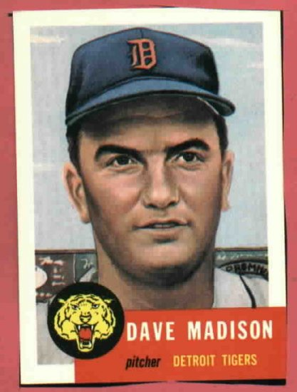 1953 Topps Archives Dave Madison Detroit Tigers 1991