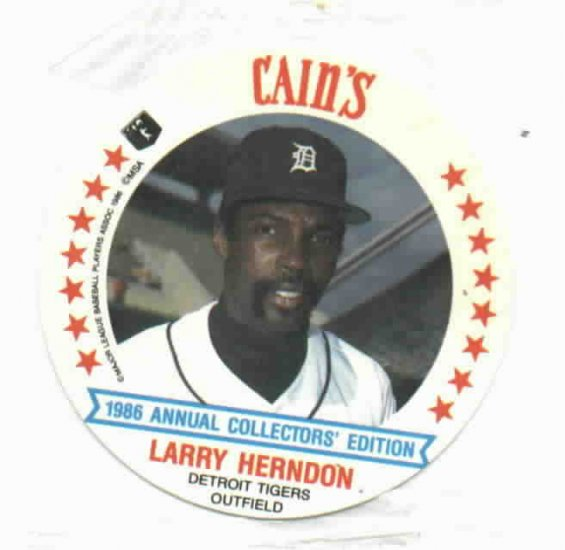 1986 Cains MSA Disc Larry Herndon Detroit Tigers ODDBALL Unopened