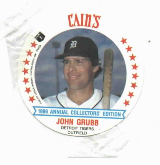 1986 Cains MSA Sisc John Grubb Detroit Tigers ODDBALL Unopened