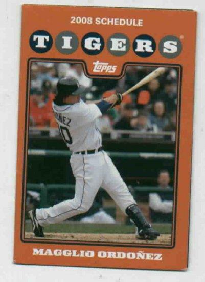 2008 Detroit Tigers Pocket Schedule Magglio Ordonez
