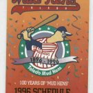 1996 Toledo Mud Hens Pocket Schedule 100th Aniv. Pepsi Food Town