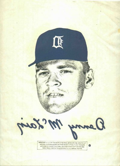 Ultra Rare Denny McClain Iron On 1968 Detroit Tigers World Series