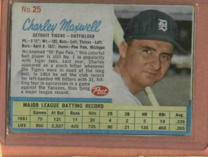 1962 Post Charley Maxwell # 25 Detroit Tigers