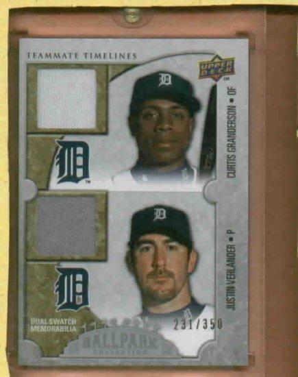 2009 Upper Deck Ballpark Curtis Granderson Justin Verlander Dual Jersey Card Detroit Tigers