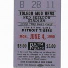 1990 Toledo Mud Hens VS Detroit Tigers Ticket Stub Mudhens