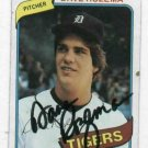 1980 Topps Dave Rozema Detroit Tigers Autograph Baseball Card Auto