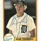 1981 Fleer Alan Trammell Detroit Tigers Autographed Baseball Card Auto