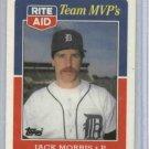 1988 Topps Rite Aid Team MVP's Jack Morris Detroit Tigers Baseball Card Oddball