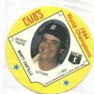 1985 Cains Chips Marty Castillo Detroit Tigers Baseball Disc Card 1984 World Champions Unopened