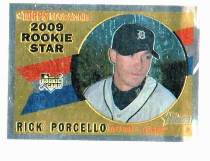 2009 Topps Heritage Chrome Rick Porcello Detroit Tigers Rookie #D / 1960