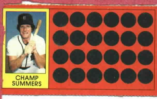 1981 Topps Scratch Offs Champ Summers Detroit Tigers Baseball Card Oddball