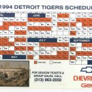1994 Detroit Tigers Magnet Schedule Tiger Stadium Chevrolet