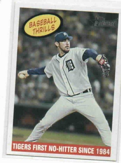 2008 Topps Heritage Baseball Thrills Justin Verlander Detroit Tigers No Hitter