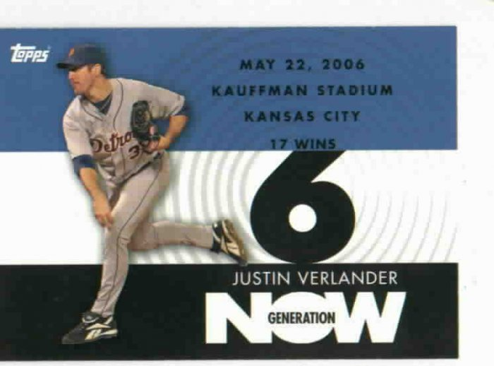2007 Topps Generation Now Justin Verlander 17 Wins Win 6