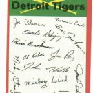 1974 Topps Detroit Tigers Team Card Checklist Unmarked
