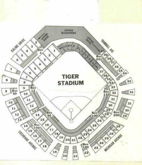 Vintage tiger stadium seating chart
