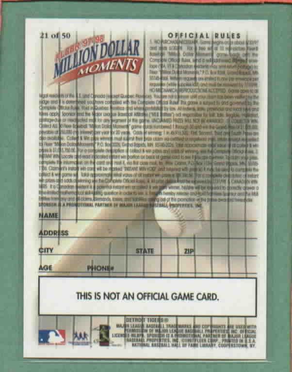 1997 Fleer Million Dollar Moments Al Kaline Redemption Detroit Tigers RARE