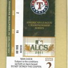2011 ALCS Home Game 3 Detroit Tigers At Texas Rangers Ticket