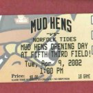 Apr 9 2002 Toledo Mud Hens Mudhens Opening Day Ticket Innaugrial Season 5/3 Field Detroit Tigers AAA