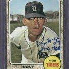 1968 Topps Denny McLain Autograph Auto Detroit Tigers # 40 World Series