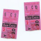 Pair Of 1968 Detroit Tigers Rain Check Ticket Stubs