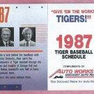 1987 Detroit Tigers WDIV Autoworks Kaline Kell Pocket Schedule