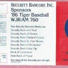 1986 Detroit Tigers Security Bancorp WJR Pocket Schedule Unfolded MINT