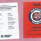 1986 Detroit Tigers American General Insurance Pocket Schedule