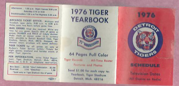 1976 Detroit Tigers Yearbook Pocket Schedule