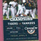 2013 Detroit Tigers Opening Day Ticket Vs New York Yankees