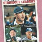 2013 Topps Heritage AL Strikeout Leaders Justin Verlander Max Scherzer Detroit Tigers # 6