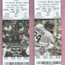 March 6 2013 Detroit Tigers V Toronto Blue Jays Spring Training Ticket Stub Miguel Cabrera