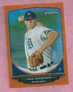 2013 Bowman Chrome Orange Refractor Jake Thompson Detroit Tigers ROOKIE # BCP75 #D 7/25