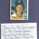 1986 Quaker Chewy Granola Darrell Evans Detroit Tigers Oddball # 24