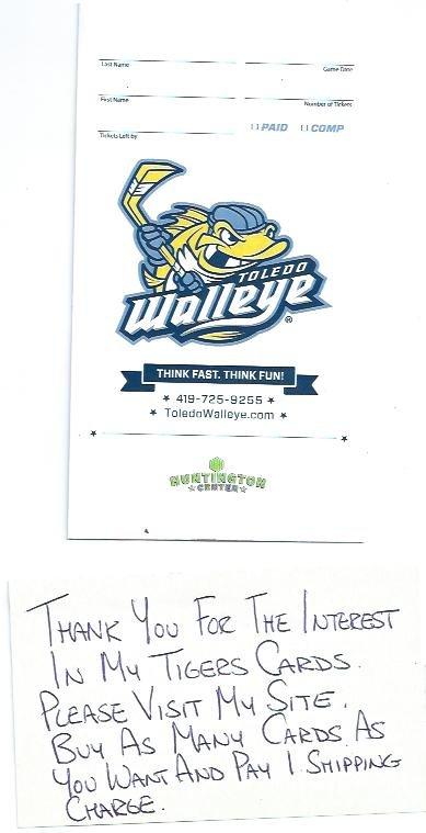 Toledo Walleye ECHL Ticket Envelope