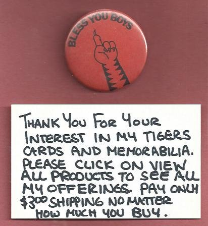 1984 Detroit Tigers Bless You Boys World Series Pin