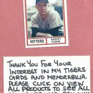 1982 TCMA Baseballs Greatest Hitters Harvey Kuenn Detroit Tigers # 11