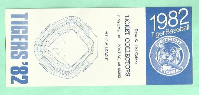 1982 Detroit Tigers Pocket Schedule Rare Oddball Dave & Hal Ticket Collectors
